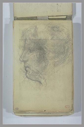BERTON Armand : Tête de femme, de profil vers la gauche