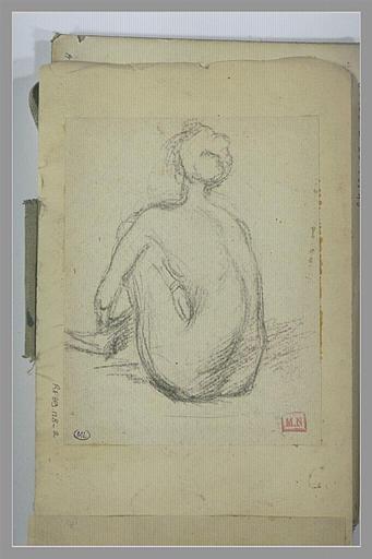 Femme nue, de dos, accroupie, jambes repliées