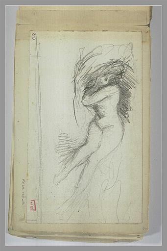 Femme nue, étendue sur un lit, la tête enfouie dans un oreiller