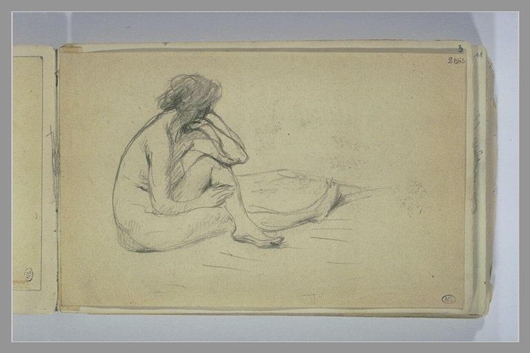 Femme nue assise par terre, de trois quarts à droite
