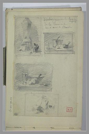 BERTON Armand : Quatre études de nature morte dans un encadrement, d'après Chardin.