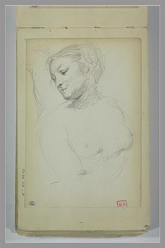 BERTON Armand : Femme nue, en buste, la tête, de trois quarts vers la gauche