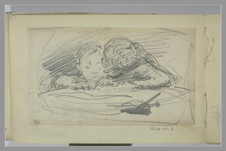 BERTON Armand : Deux enfants lisant l'un contre l'autre