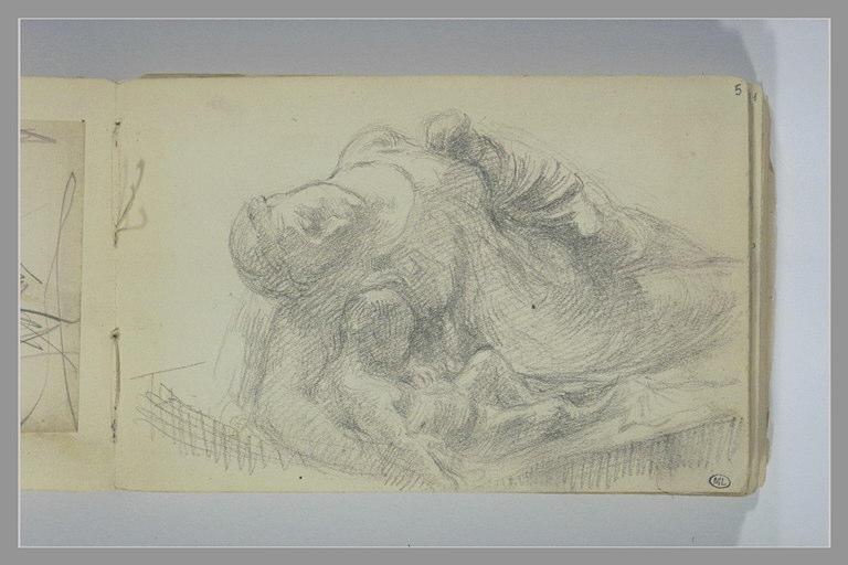 BERTON Armand, GIRAUD Pierre François Eugène (inspiré par) : Copie partielle d'après le tombeau de la femme de P. Giraud au Louvre