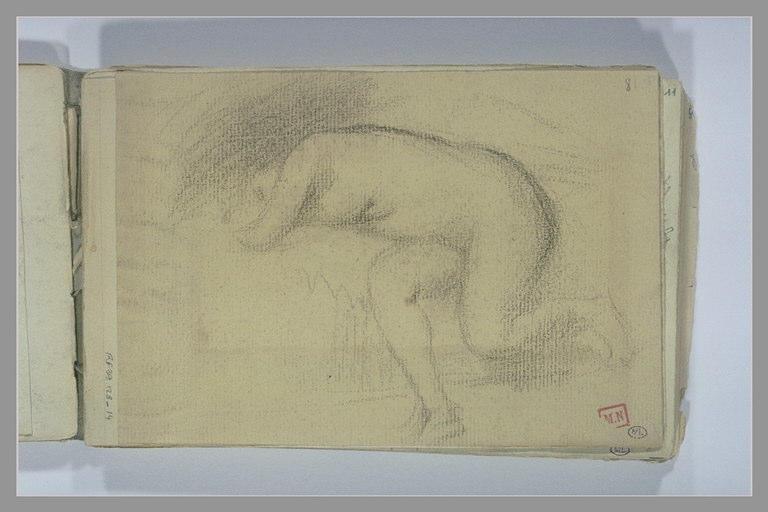 BERTON Armand : Nu féminin à demi agenouillé devant un lit, la tête dans les mains