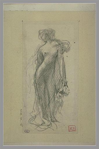 Femme nue, debout, la tête de trois quarts vers la gauche