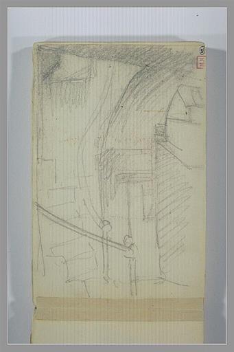 BERTON Armand : Un escalier tournant à gauche près d'un porche