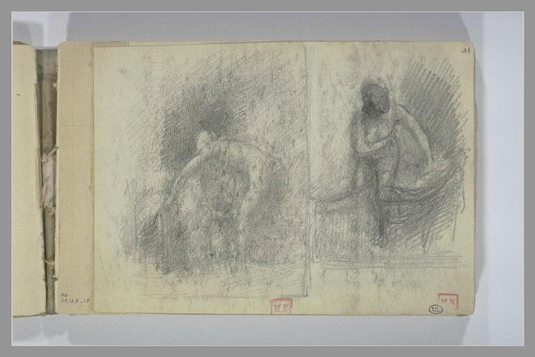 Deux études de femme nue, à sa toilette, de face et de dos