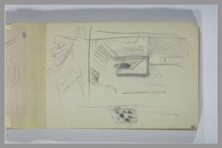 Une silhouette volante (?) ; encadrement intérieur avec une fenêtre