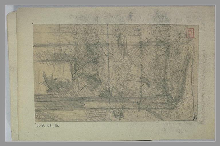 BERTON Armand : Silhouette assise sur un banc avec un arbre au premier plan