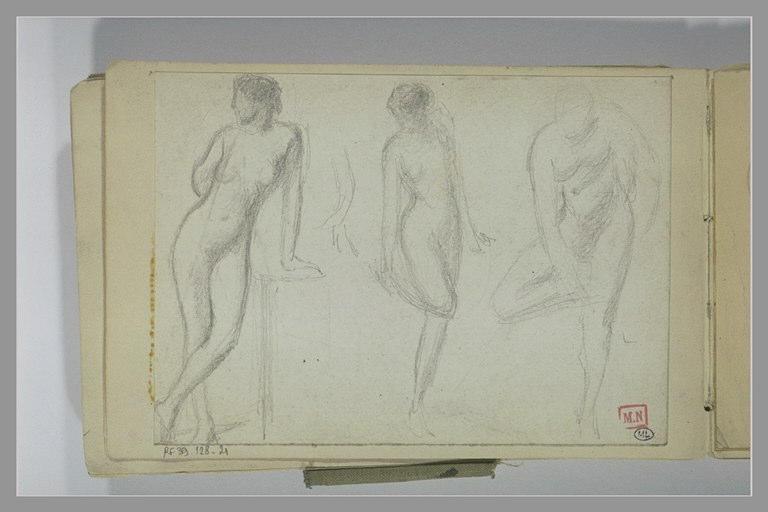 BERTON Armand : Trois études de femme nue, dont deux se tenant un pied