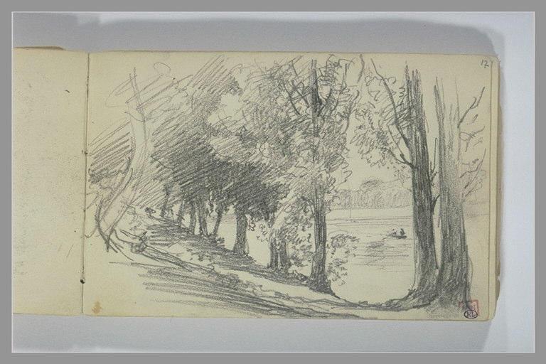 BERTON Armand : Rangée d'arbres au bord de l'eau