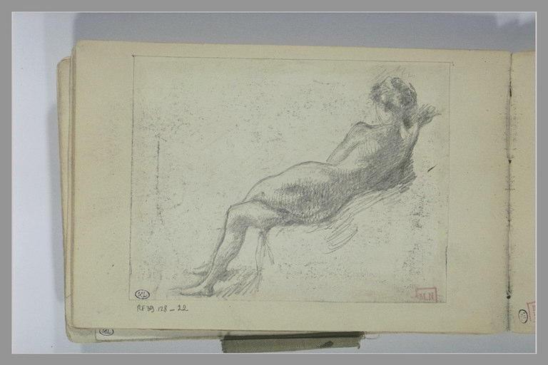 BERTON Armand : Nu féminin, de dos, à demi allongée sur le côté droit
