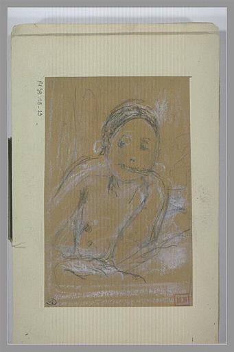 BERTON Armand : Femme nue, en buste, de face