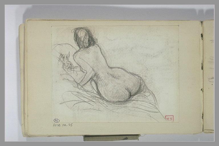 BERTON Armand : Femme nue assise, de dos, en biais, sur le bord d'un lit