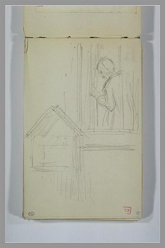 BERTON Armand : Silhouette regardant par la fenêtre et cage d'oiseaux