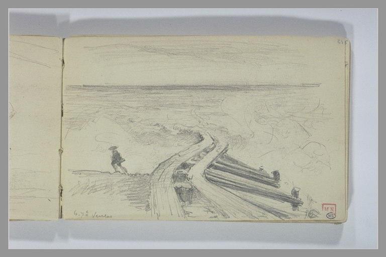 BERTON Armand : Silhouette au bord de la mer, près d'un épi s'enfonçant dans les vagues