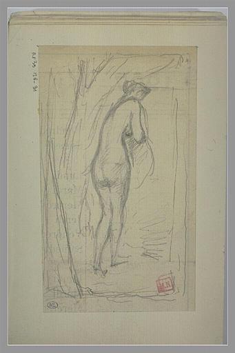 BERTON Armand : Femme nue, debout, de dos, de trois quarts vers la droite