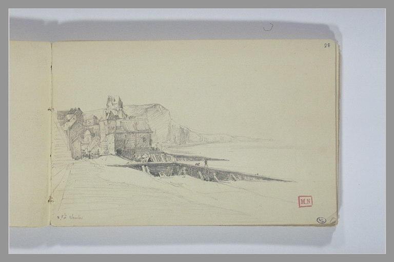 BERTON Armand : Maisons et falaises au bord de la mer