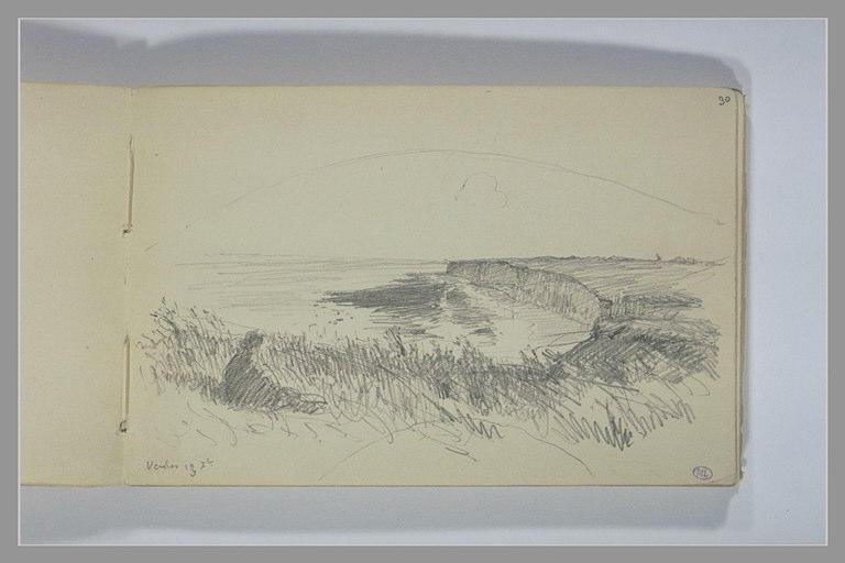 Personnage assis dans l'herbe, vue plongeante sur des falaises_0