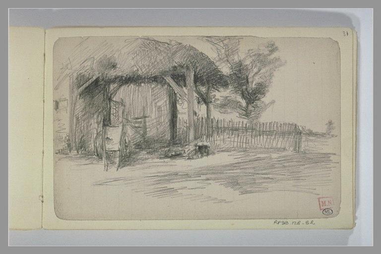BERTON Armand : Entrée d'une ferme au toit de chaume avec une charrette