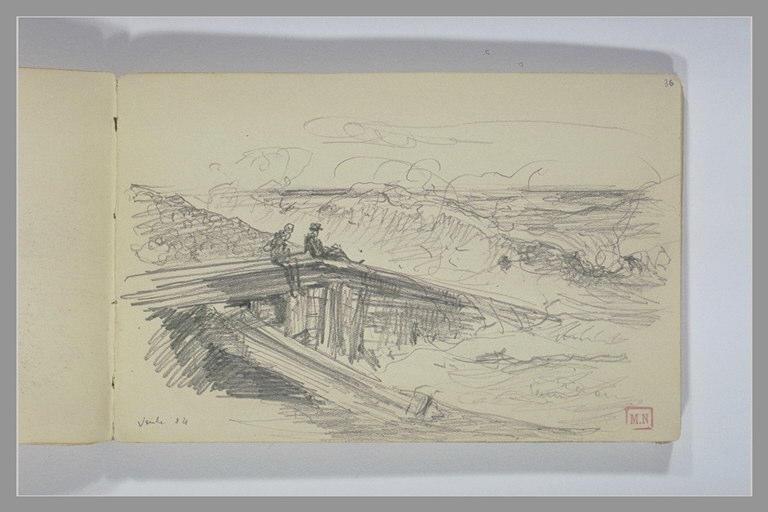 BERTON Armand : Deux silhouettes assises sur un épi regardant les vagues
