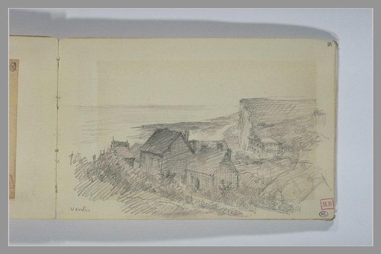 Maisons à flanc de colline avec une falaise dans le fond: Veules_0