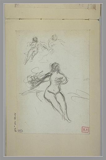 BERTON Armand : Trois croquis d'une femme nue, assise