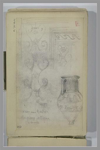 BERTON Armand : Etudes d'après motifs décoratifs antiques et un vase peint grec
