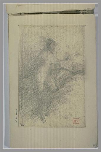 Croquis d'une femme nue, de trois quarts vers la droite