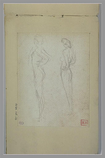 Deux croquis d'une femme nue, debout, de trois quarts à gauche