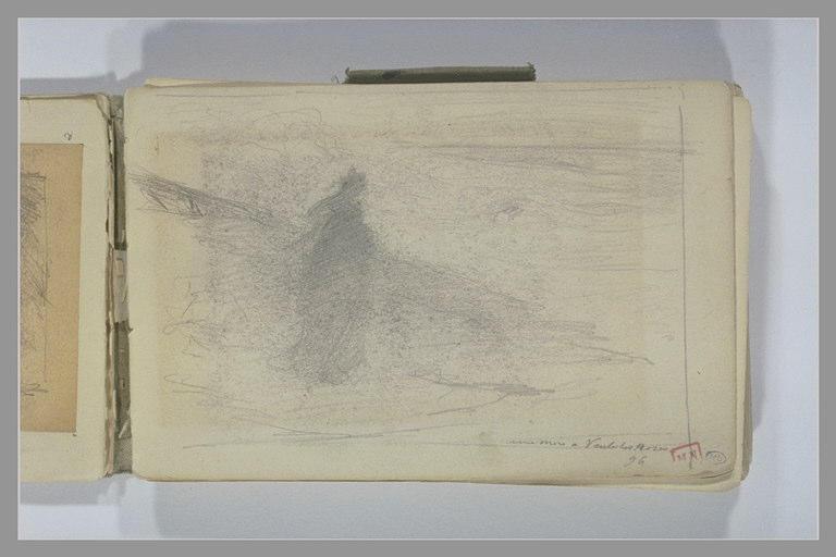 BERTON Armand : Figure vêtue de noir, debout, de trois quarts à droite, au bord de l'eau