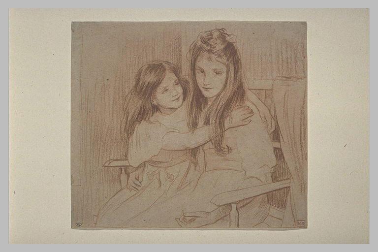 Les deux soeurs, assises dans un fauteuil