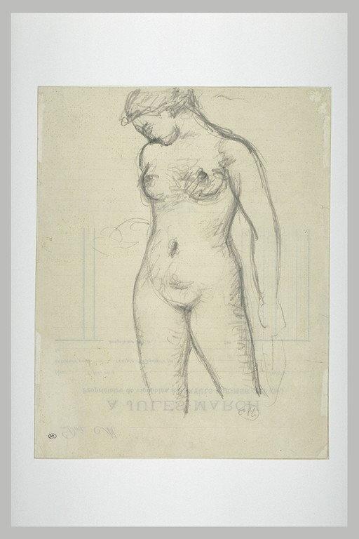 Femme nue, tête penchée de profil à gauche