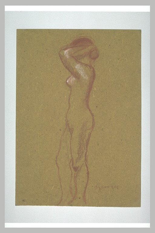 Femme nue, debout, se coiffant, de profil à gauche