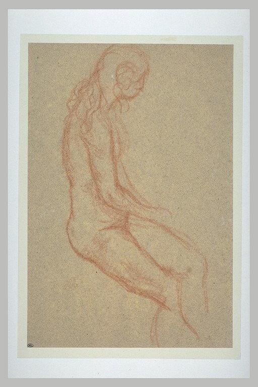 Jeune femme nue, assise, les cheveux dénoués_0