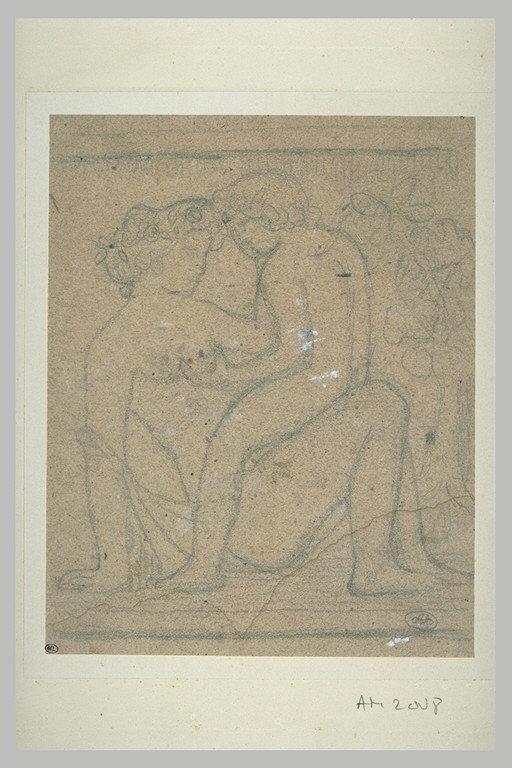 Femme et enfant nus dans un jardin