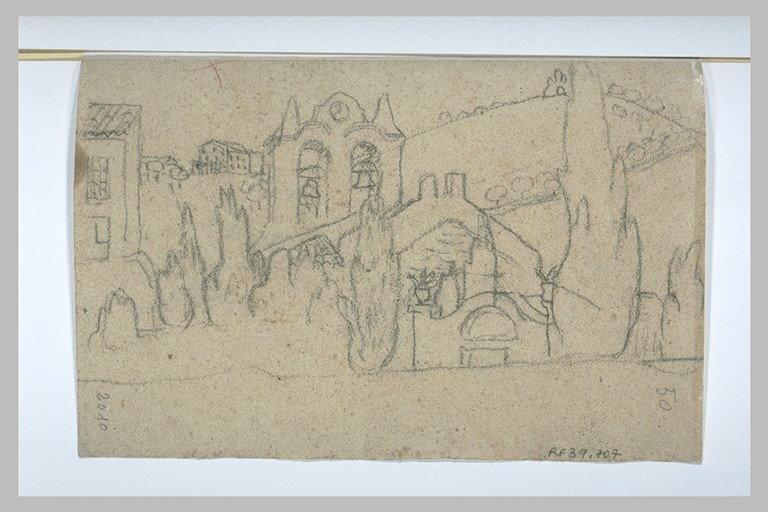 Eglise au clocher peigne, entouré de cyprès