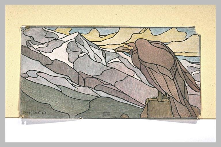 Faucon et montagne