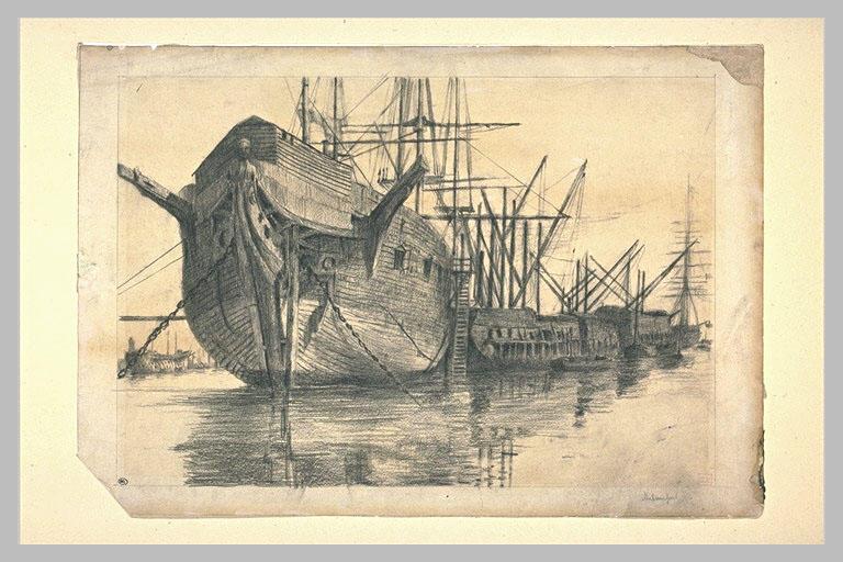 Navires ou vieux bateaux de bois au mâts détoilés