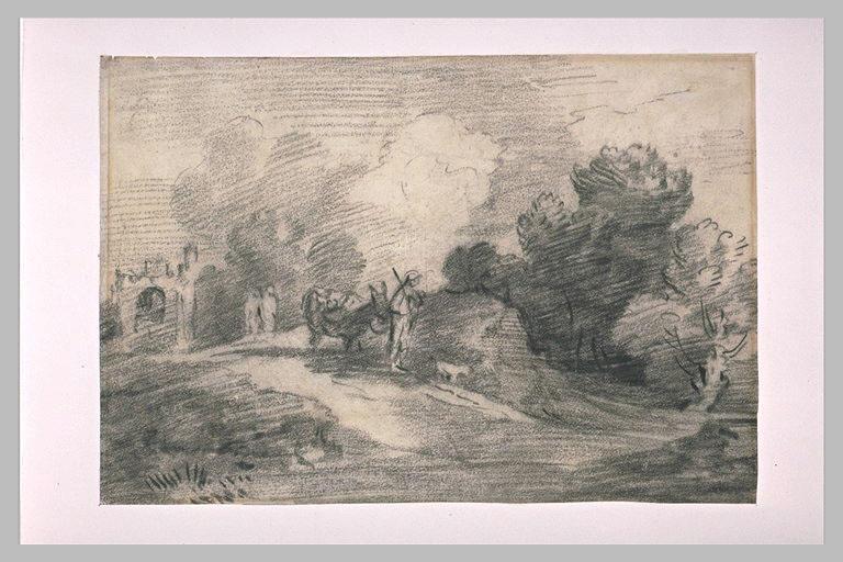 Berger dans la campagne avec un âne et un chien