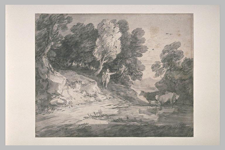 Deux figures dans un paysage boisé bordant un plan d'eau avec des vaches