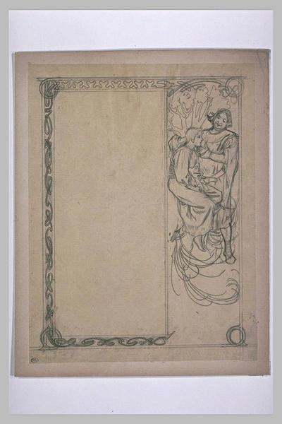 Etude pour Ilsée, chapitre I : Homme et jeune bergère en costume médiéval, dans un paysage