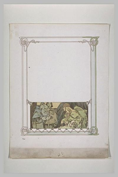 Etude pour Ilsée, chapitre III : Femme assise, regardant un moine barbu tenant un bâton orné d'une croix