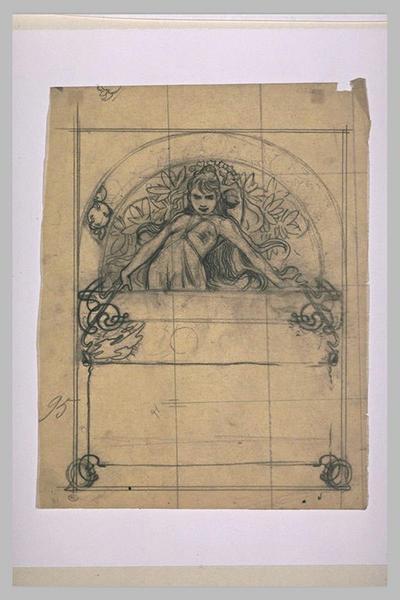 Etude pour Ilsée, chapitre I, 3e partie : Jeune femme aux longs cheveux, debout, sous un arc en plein cintre
