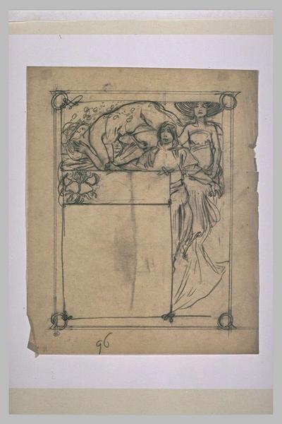 Etude pour Ilsée, chapitre I, 3e partie : Figure nue penchée sur le sol, adolescent et femme