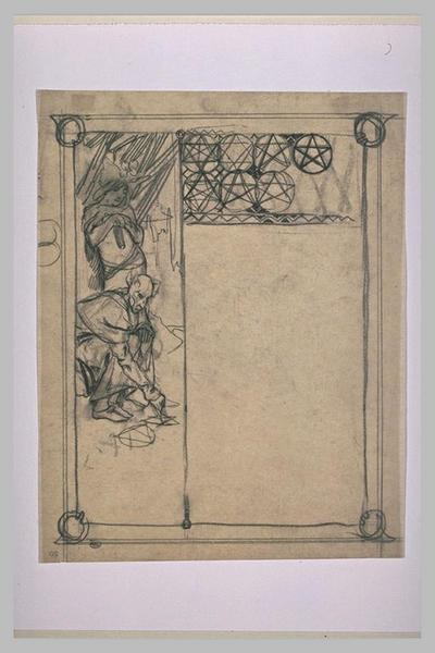 Etude pour Ilsée, chapitre I : Adolescent, regardant les signes tracés par un personnage diabolique