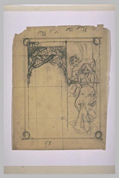 Etude pour Ilsée, chapitre I : Femme assise, posant la main sur l'épée tendue devant elle par un personnage