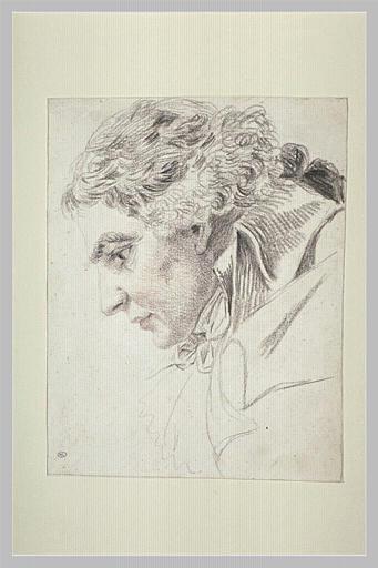 Portrait de Franz Lang, de profil à gauche