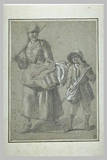 Paysanne et jeune garçon se dirigeant vers la gauche